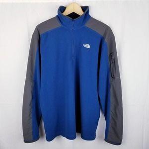 North Face Blue Fleece 1/4 Zip Pullover Jacket L